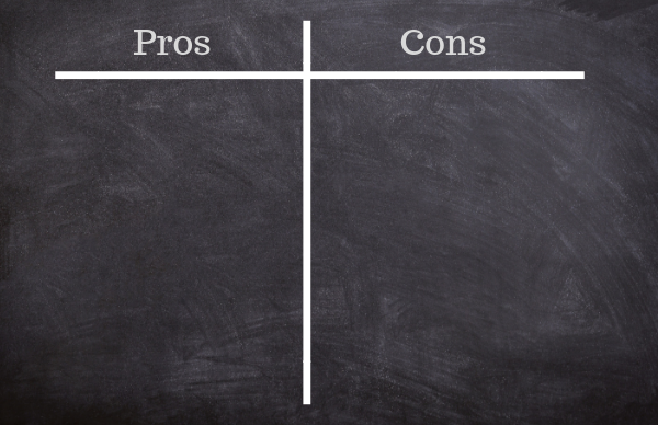 chalkboard of pros and cons
