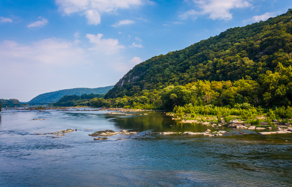 View of the Potomac River, from Harpers Ferry, West Virginia.
