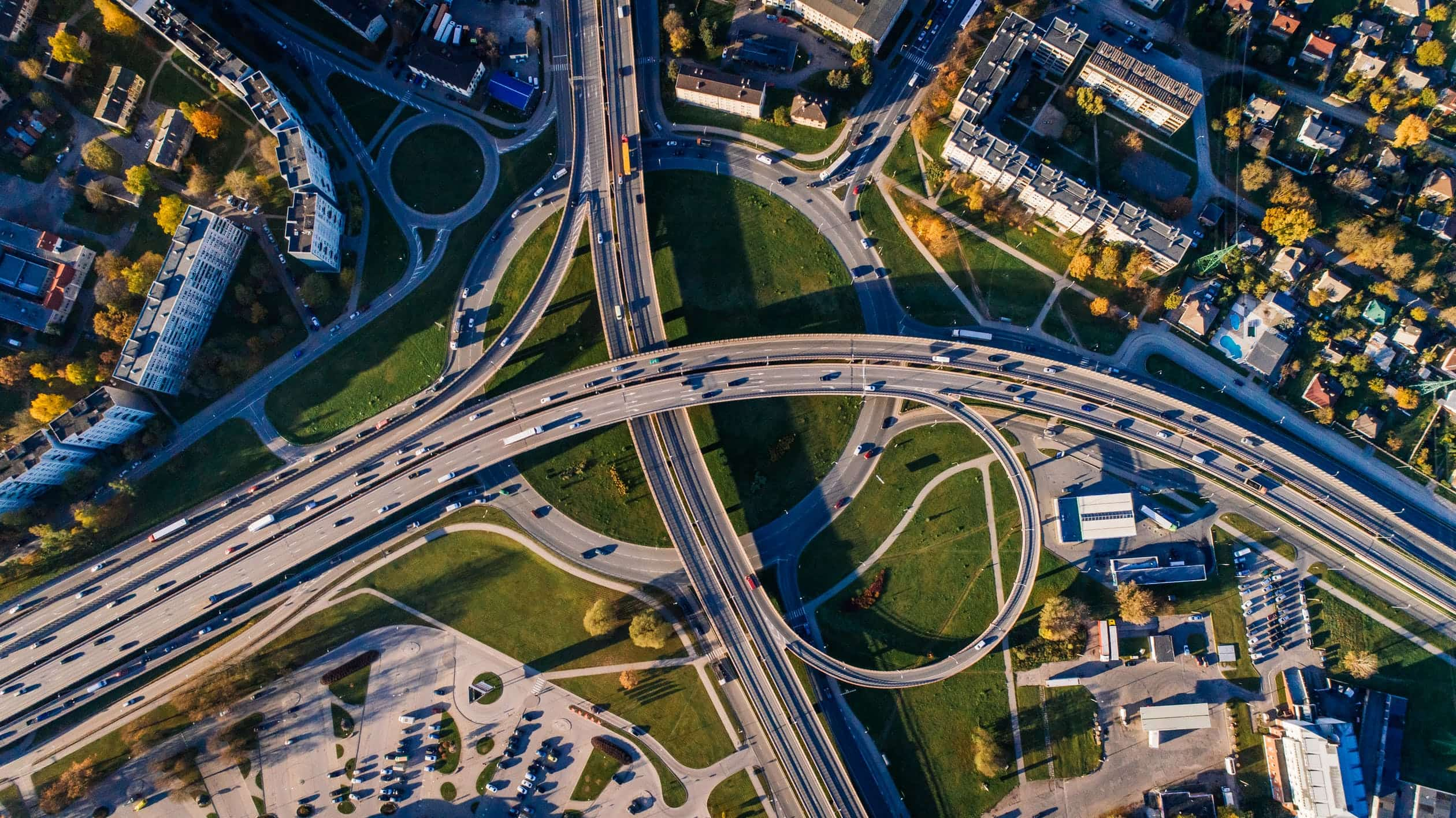 Aerial view of infrastructure in America