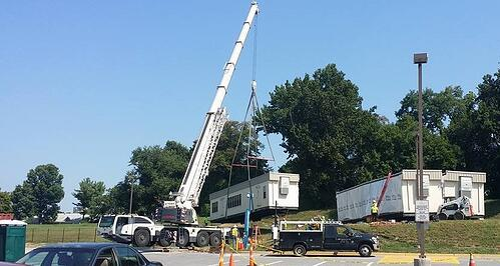 crane shot carry modular building