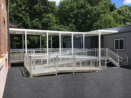 modular school building with awnings