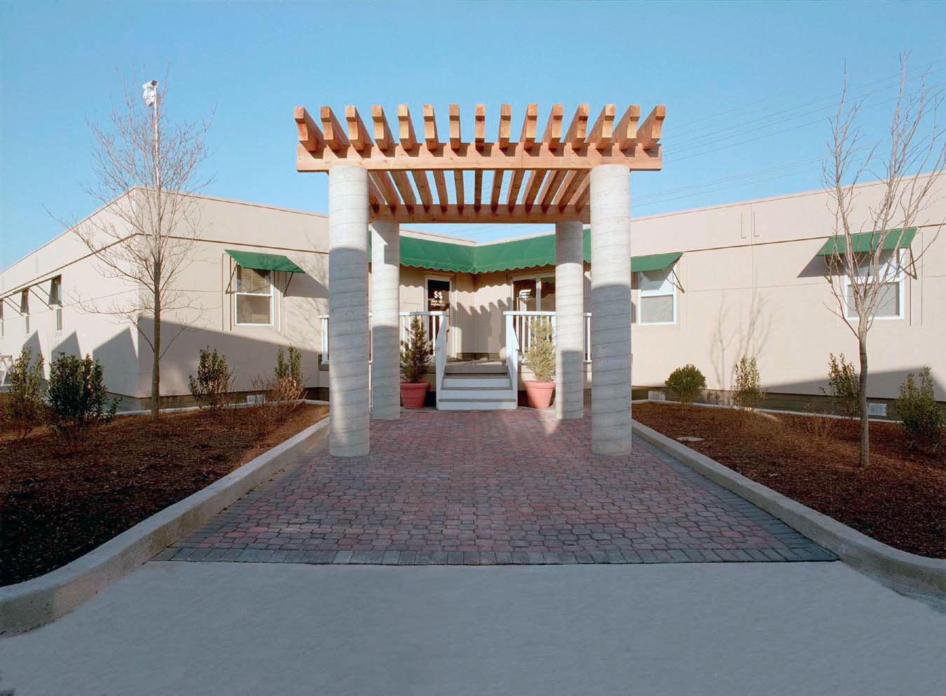 Exterior awnings for a modular structure