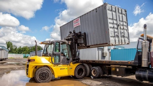Forklift Moving Container Repurposed Shipping Containers