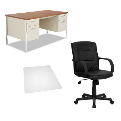 Furniture Combo including a steel desk and rolling chair with mat